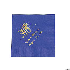 Paper Champagne Purple Personalized Beverage Napkins with Gold Print