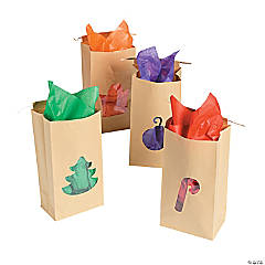 Paper Christmas Kraft Bags with Cellophane Cutouts