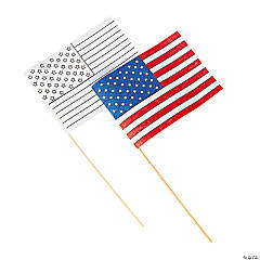 Paper Color Your Own American Flags - 8 1/2