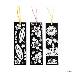 Paper Color-Your-Own Luau Fuzzy Bookmarks
