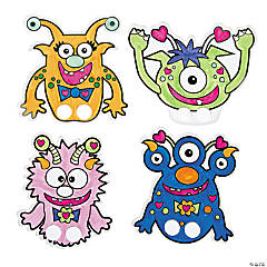 Paper Color Your Own Valentine Monster Finger Puppets