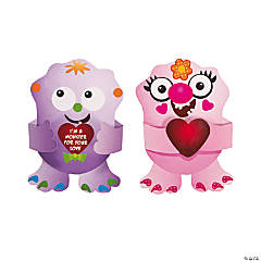 Paper Create-A-Monster Valentine Cards with Stickers