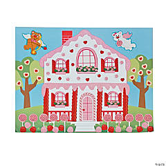 Paper DIY Valentine Candy House Sticker Scenes