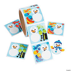 Paper Dress-a-Snowman Sticker Scene Roll