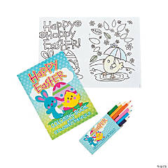 Paper Easter Coloring Book with Colored Pencils PDQ