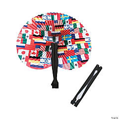 Paper Flags Around the World Folding Fans