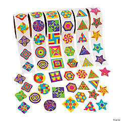 Paper Funky Geometric Shapes Rolls of Stickers