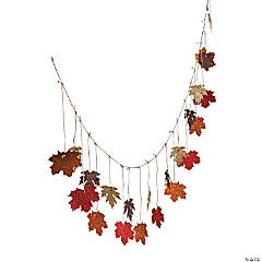 Paper Glittered Maple Leaves Garland