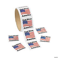 "Paper ""God Bless America"" Sticker Rolls"