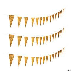Paper Gold Glitter Pennant Banner