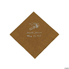 Paper Gold Graduation Personalized Beverage Napkins with Silver Print