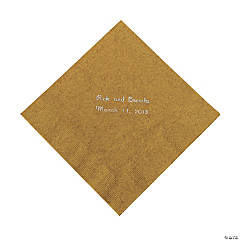 Paper Gold Personalized Luncheon Napkins with Silver Foil