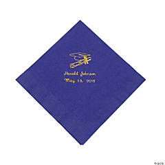Paper Gold Purple Grad Luncheon Napkin (50 pc) (P)