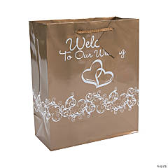 Paper Gold Two Hearts Welcome To Our Wedding Gift Bags with Tags