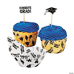 Paper Graduation Cupcake Liners with Picks