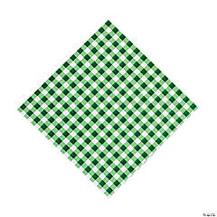 Paper Green Gingham Luncheon Napkins