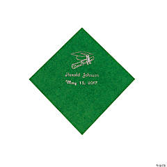 Paper Green Grad Personalized Beverage Napkins with Silver Print