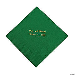 Paper Green Personalized Luncheon Napkins with Gold Print