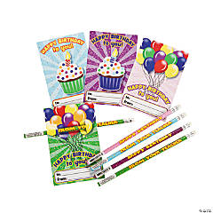 "Paper ""Happy Birthday"" Cards with Pencils"