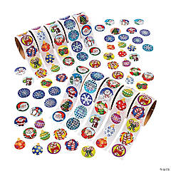 Paper Holiday Rolls of Stickers Assortment - 10 rolls