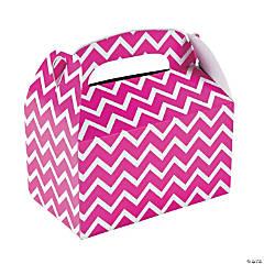 Paper Hot Pink Chevron Treat Boxes