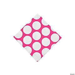 Paper Hot Pink Large Polka Dot Beverage Napkins