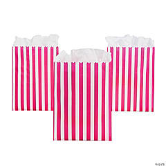Paper Hot Pink Striped Treat Bags