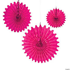 Paper Hot Pink Tissue Hanging Fans
