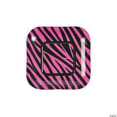 Paper Hot Pink Zebra Dessert Plates