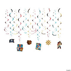 Paper Jake & The Never Land Pirate Hanging Swirl Decorations - 12 Pc.