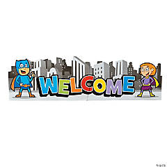 Paper Jointed Superhero Welcome Banner
