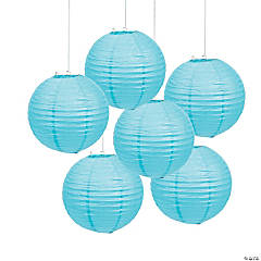 Paper Light Blue Lanterns