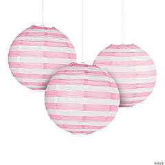 Paper Light Pink Striped Lanterns