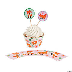 Paper Lil' Fox Cupcake Wrappers with Picks