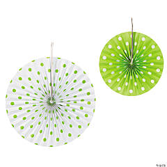 Paper Lime Green Polka Dot Hanging Fans