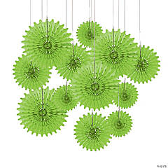 Paper Lime Green Tissue Hanging Fans