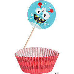 Paper Mini Monster Baking Cups with Picks