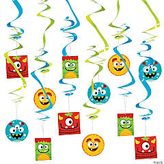Paper Mini Monster Swirl Decorations - 12 Pc.