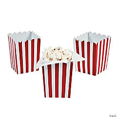 Paper Mini Red Striped Popcorn Boxes