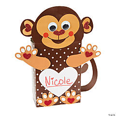 Paper Monkey Valentine Card Holder Craft Kit - Makes 12