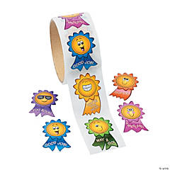Paper Motivational Smile Face Sticker Rolls