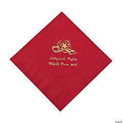 Paper Movie Night Red Personalized Luncheon Napkins with Gold Foil