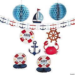 Paper Nautical Boy Baby Shower Decorating Kit