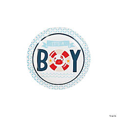 Paper Nautical Boy Baby Shower Dessert Plates - 8 ct.