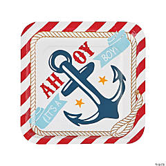 Paper Nautical Boy Baby Shower Dinner Plates - 8 ct.