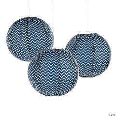 Paper Navy Blue Chevron Lanterns