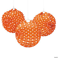 Paper Orange And White Polka Dot  Lanterns