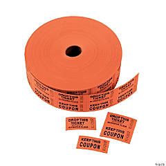Paper Orange Coupon Double Roll Tickets