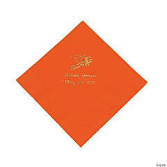 Paper Orange Graduation Personalized Luncheon Napkins with Gold Print