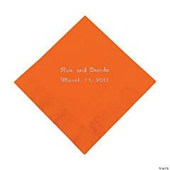 Paper Orange Personalized Beverage Napkins with Silver Foil